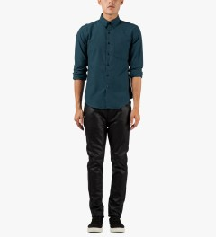 Naked & Famous Petrol Blue Twisted Yarn Slim Shirt Model Picutre