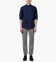 Garbstore Navy Hidden Map Pockets Shirt Model Picutre