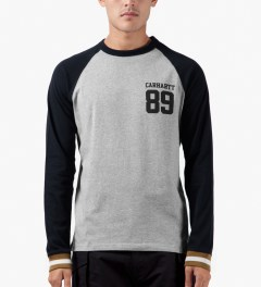 Carhartt WORK IN PROGRESS Grey Heather/Jet L/S Rib T-Shirt Model Picutre