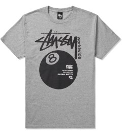 Stussy Heather Grey Worldwide 8 Ball T-Shirt Picutre