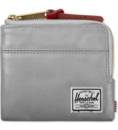 Herschel Supply Co. Silver/Red Leather Johnny 3M Zipper Pull Wallet Picutre