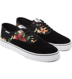 HUF Black Floral Suede Canvas Mateo Shoes Model Picutre