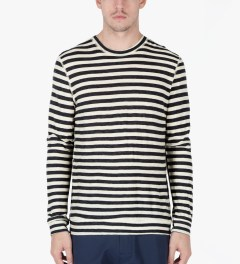 Naked & Famous Navy/Ivory Slim Crewneck Striped T-Shirt Model Picutre