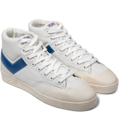 PONY White/Blue Vintage Slamdunk Hi Canvas Sneakers Model Picutre