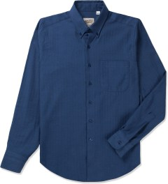 Naked & Famous Blue Soft Herringbone Regular Shirt Picutre
