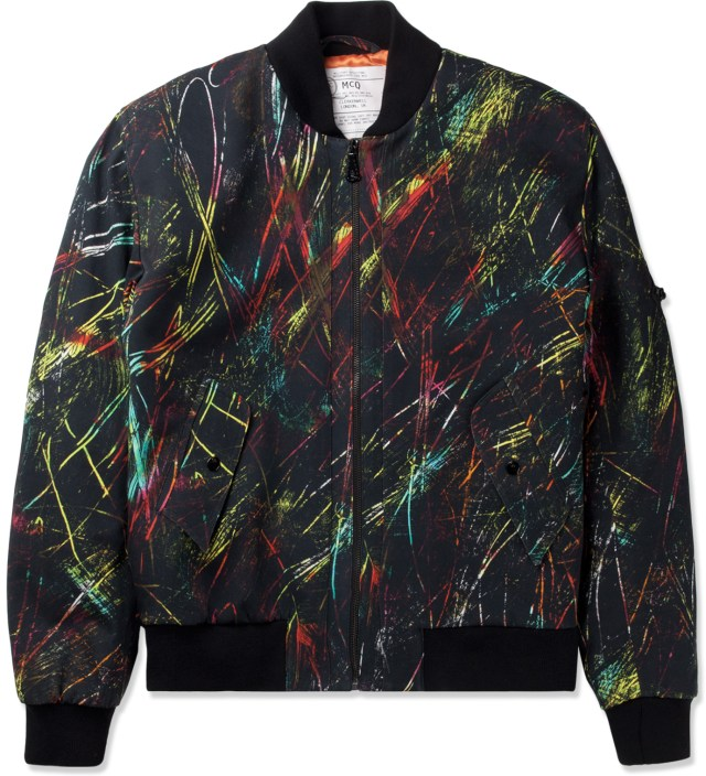 Black Scratched Printed MA-1 Jacket
