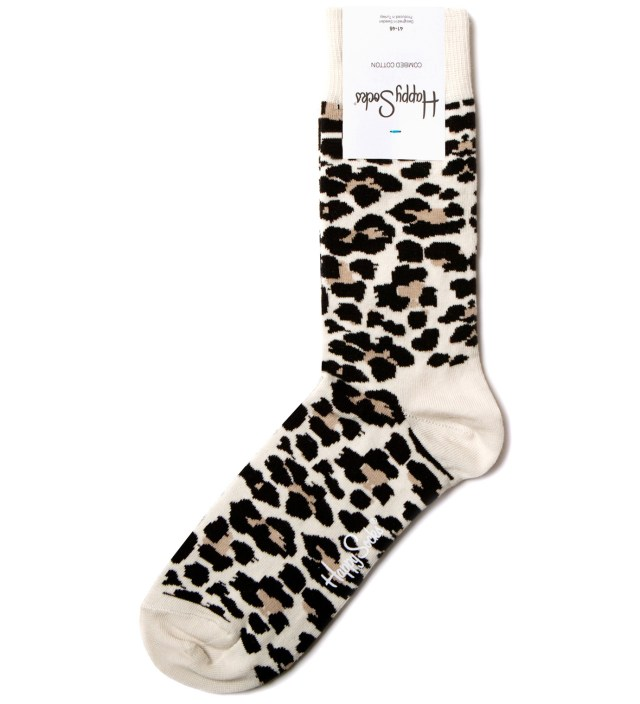 White/Black Leopard Socks