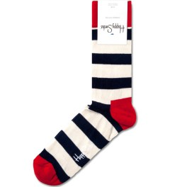 Happy Socks Navy/White Strips Socks Picutre