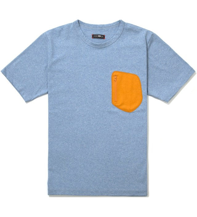 Blue Wool Pocket T-Shirt