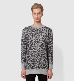 FACETASM Grey Leopard Long Sweater Model Picutre