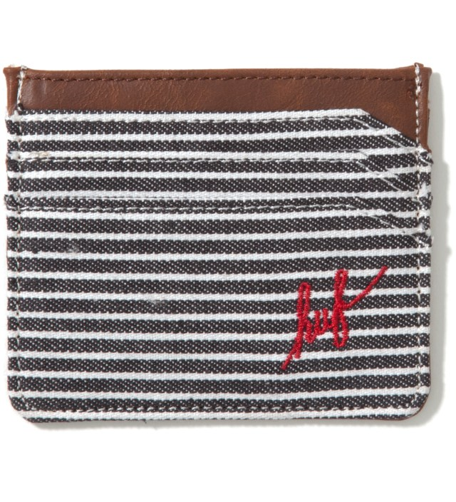 Navy Fine Stripe Card Case