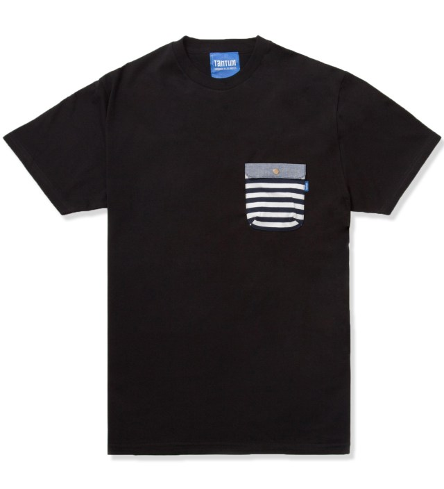 Black Border Stripes w/ Blue Chambray Flap Chief Pocket T-Shirt