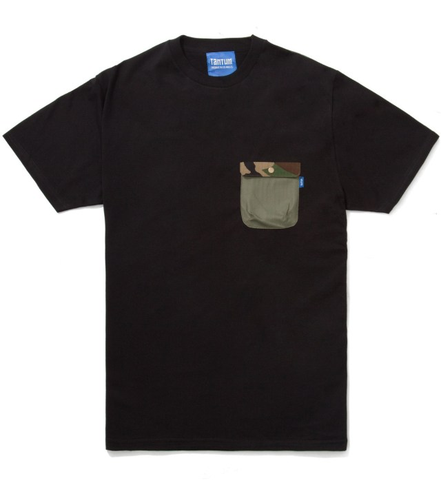Black Olive Drab HBT w/ Woodland Camo Flap Chief Pocket T-Shirt