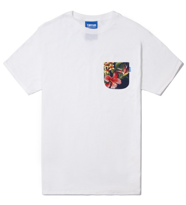 White Hawaiian Print Pocket T-Shirt