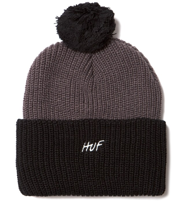 Black Simple Pom Beanie