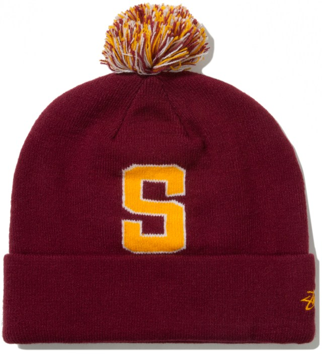 Burgundy Athletic S Pom-Pom Beanie