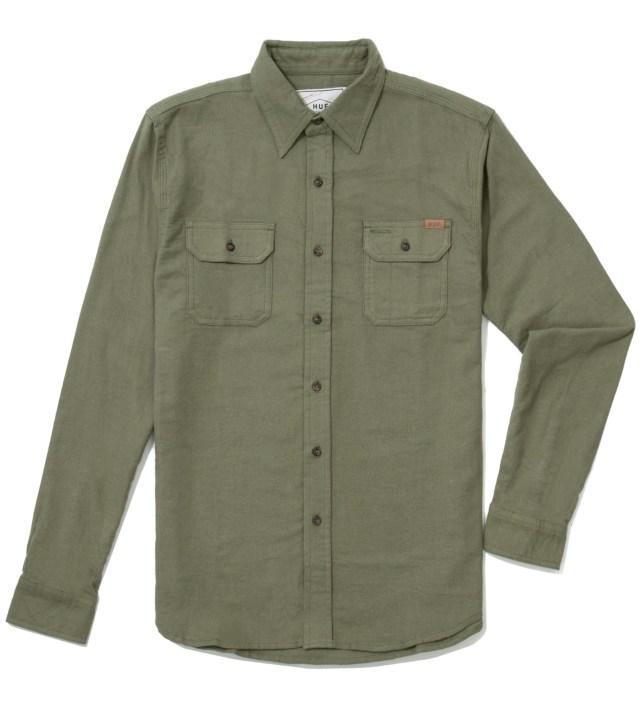 Olive Solid Flannel Work Shirt