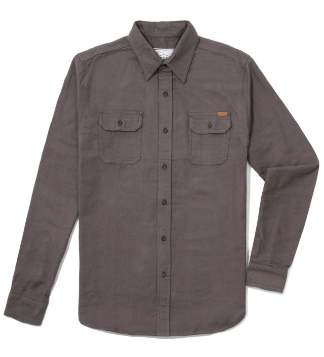Charcoal Solid Flannel Work Shirt