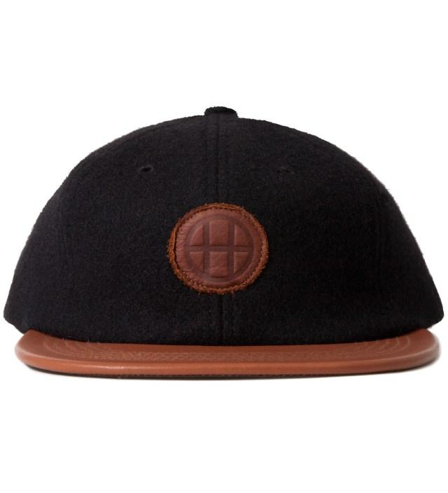 Black Milton Wool & Leather Circle H 6 Panel Cap