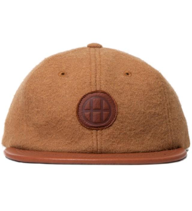 Tan Milton Wool & Leather Circle H 6 Panel Cap