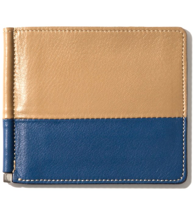 Beige/Navy Card Case & Money Clip