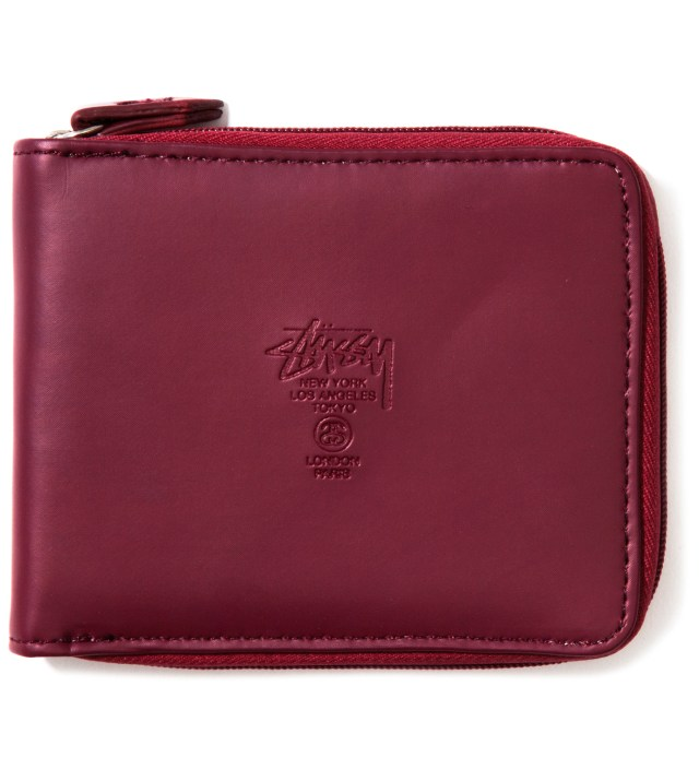 Burgundy Super Solid Zip Wallet