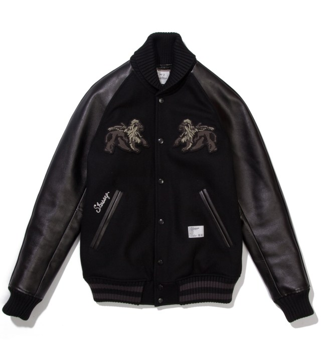 "Stussy x The Heartbreaker Black and Black ""Rubin"" Varsity Jacket"