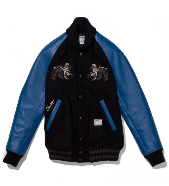 "Stussy x The Heartbreaker Black and Blue ""Rubin"" Varsity Jacket"