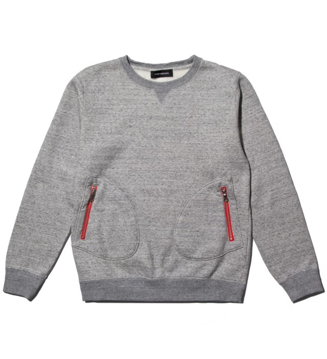 Grey Cotton Mixed Crewneck