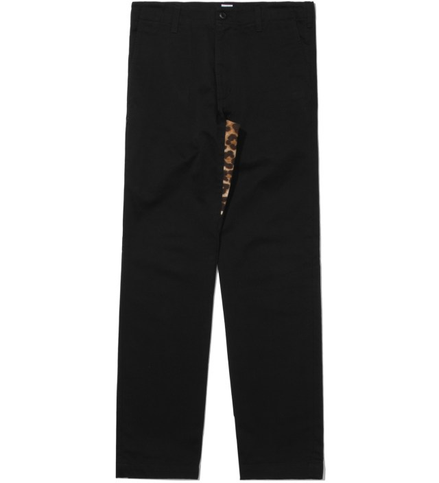 Black Chino Leopard Pants