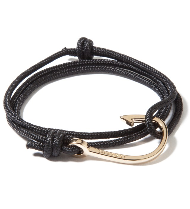 Gold Hook on Black Rope Bracelet