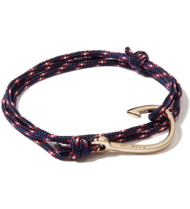 Gold Hook on Navy Rope Bracelet
