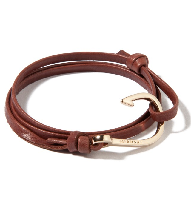 Gold Hook on Brown Leather Bracelet