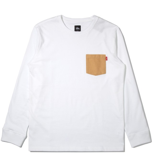 White Flannel Pocket Long Sleeve T-Shirt