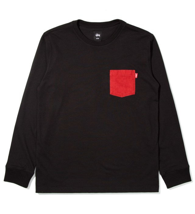 Black Flannel Pocket Long Sleeve T-Shirt