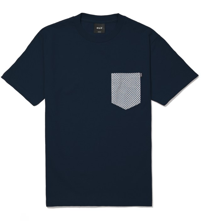 Navy Checkered Pocket T- Shirt