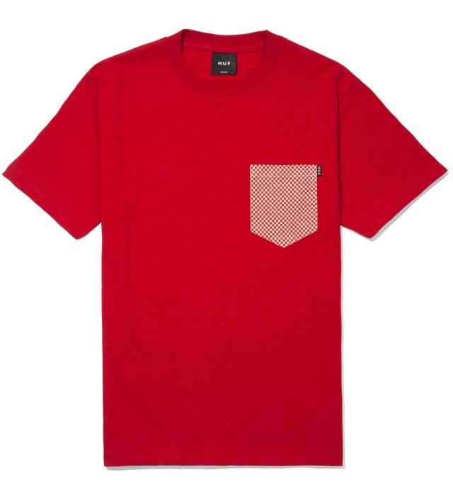 Red Checkered Pocket T- Shirt