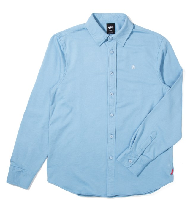 Blue Fleece Button Up Shirt