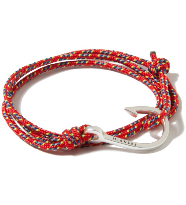 Silver Hook on Red Rope Bracelet