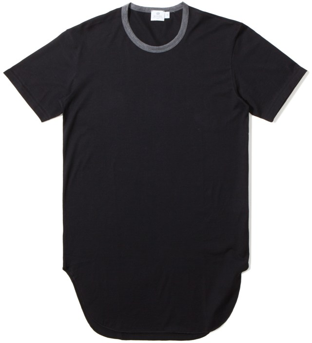 Cash Ca x Sunspel Black Long Inner Short Sleeve T-Shirt