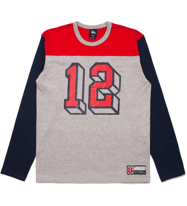 Grey Heather #12 Football Jersey Long Sleeved T-Shirt