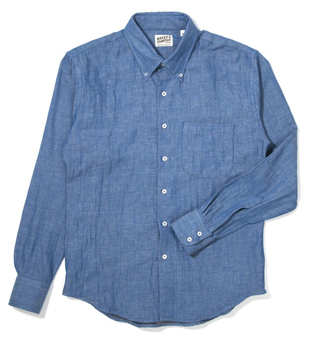 Blue Doubleface with Check Interior Slim Shirt