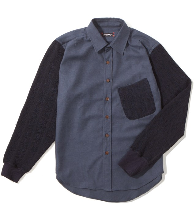 Navy Knit Sleeve Shirt