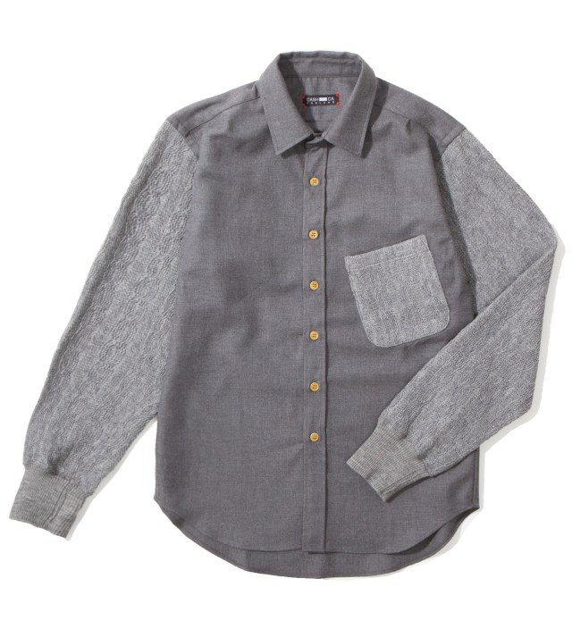 Grey Knit Sleeve Shirt