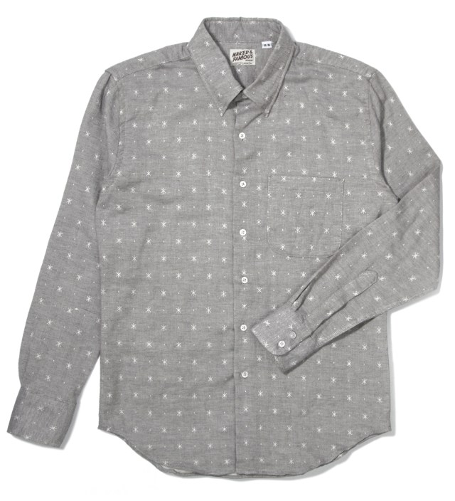 Grey Snow Jacquard Double Weave Slim Shirt