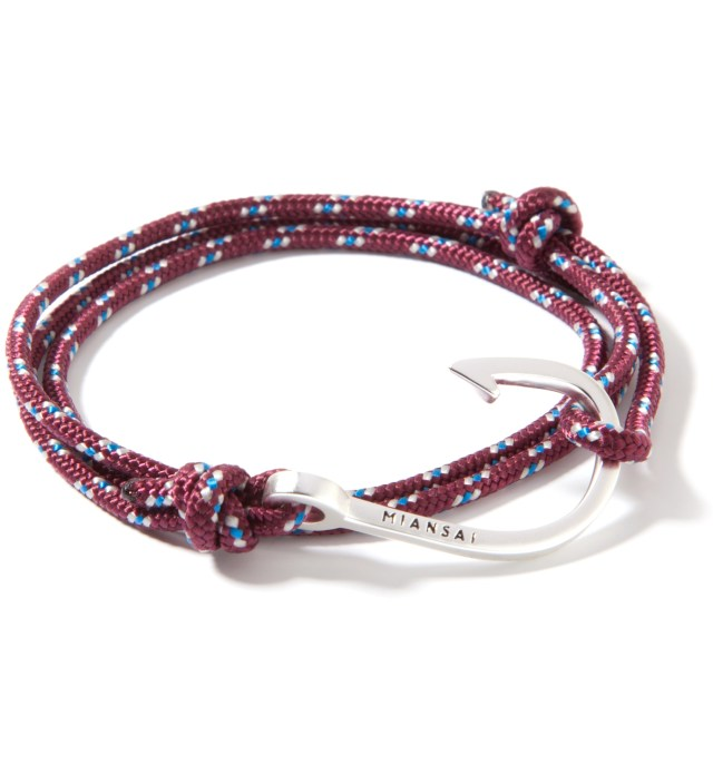 Silver Hook on Burgundy Rope Bracelet