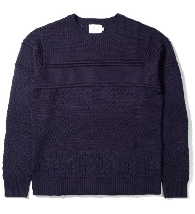 Navy Multi-Knit Crewneck Sweater