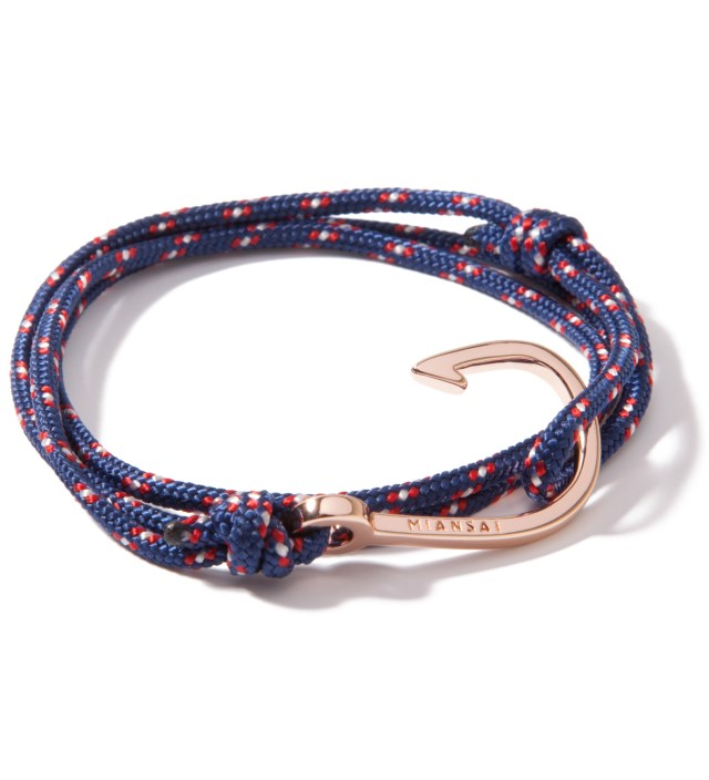 Rose Gold Hook on Navy Rope Bracelet