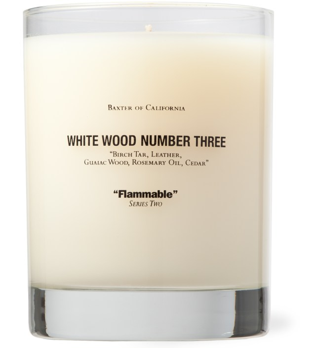 White Wood Number Three Candle
