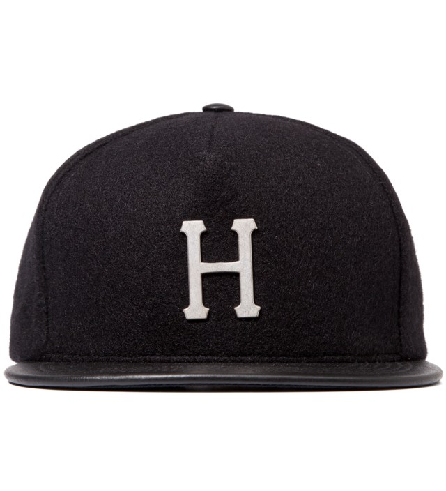 Black Melton Wool Metal H 5 Panel Cap